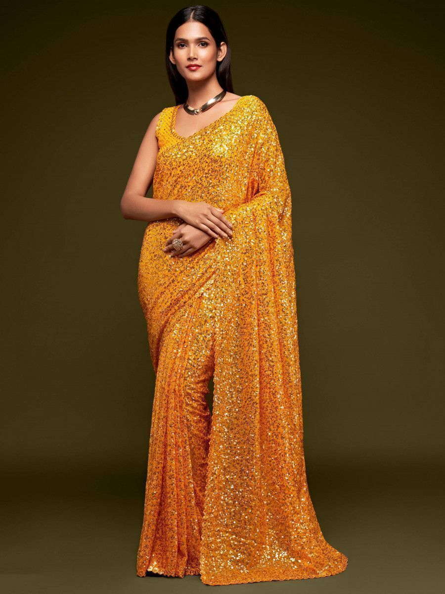 Yellow Fully Sequined Georgette Party Wear Saree