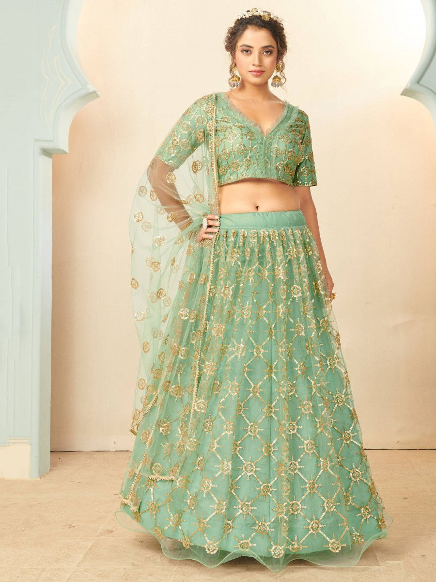 Pista Green Sequins Net Party Wear Lehenga Choli