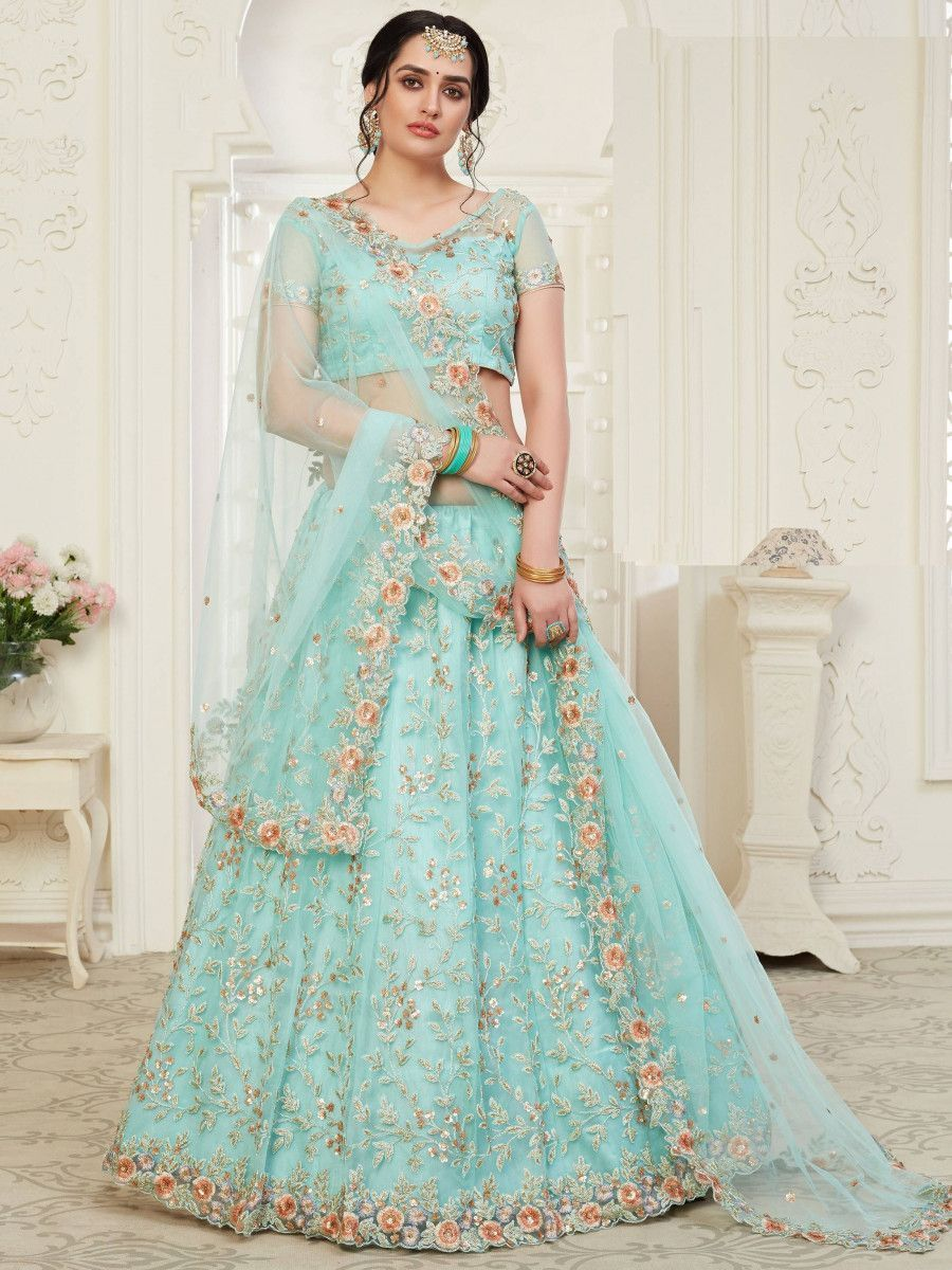 Aqua Blue Thread Net Bridal Wear Lehenga Choli