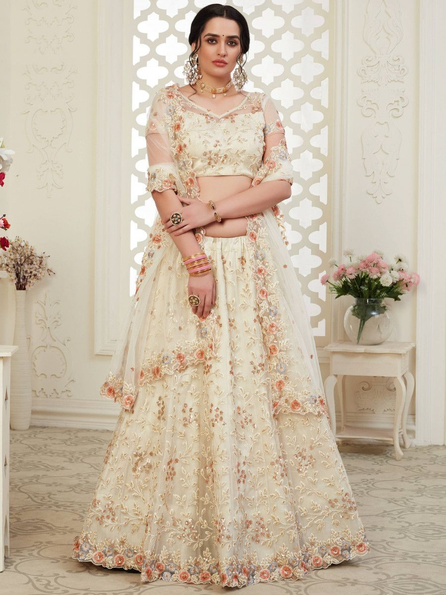Off White Thread Net Bridal Wear Lehenga Choli