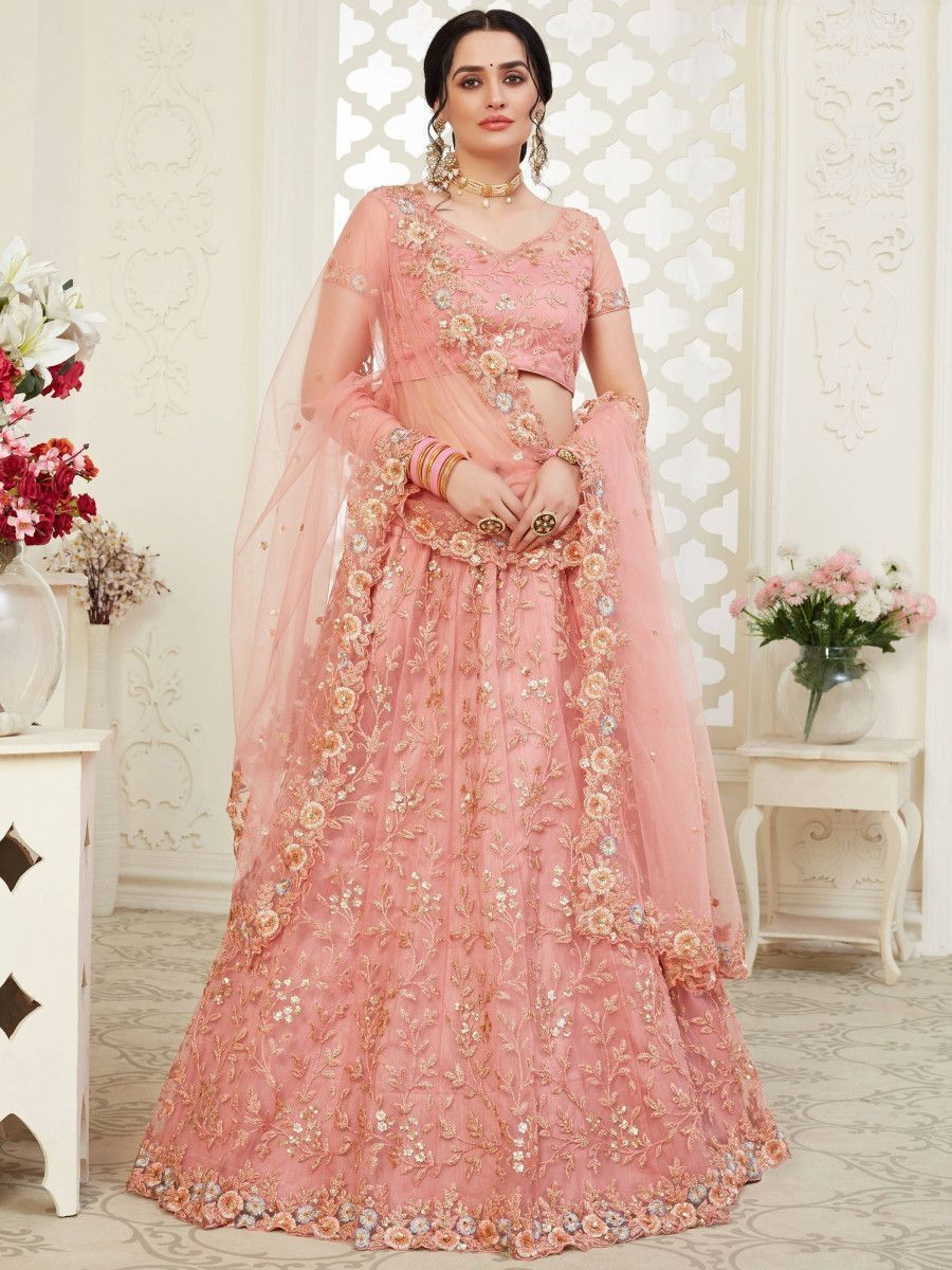 Pink Color Thread Net Bridal Wear Lehenga Choli