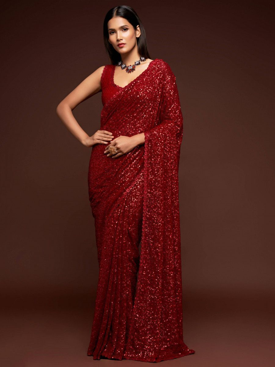 Ruby Red Fully Sequined Georgette Party Wear Saree