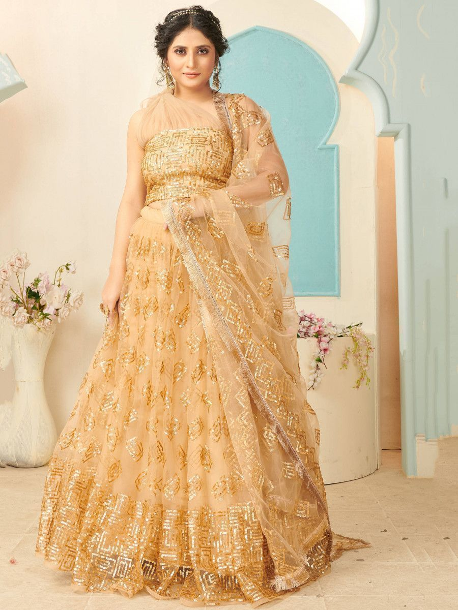 Golden Sequins Net Party Wear Lehenga Choli