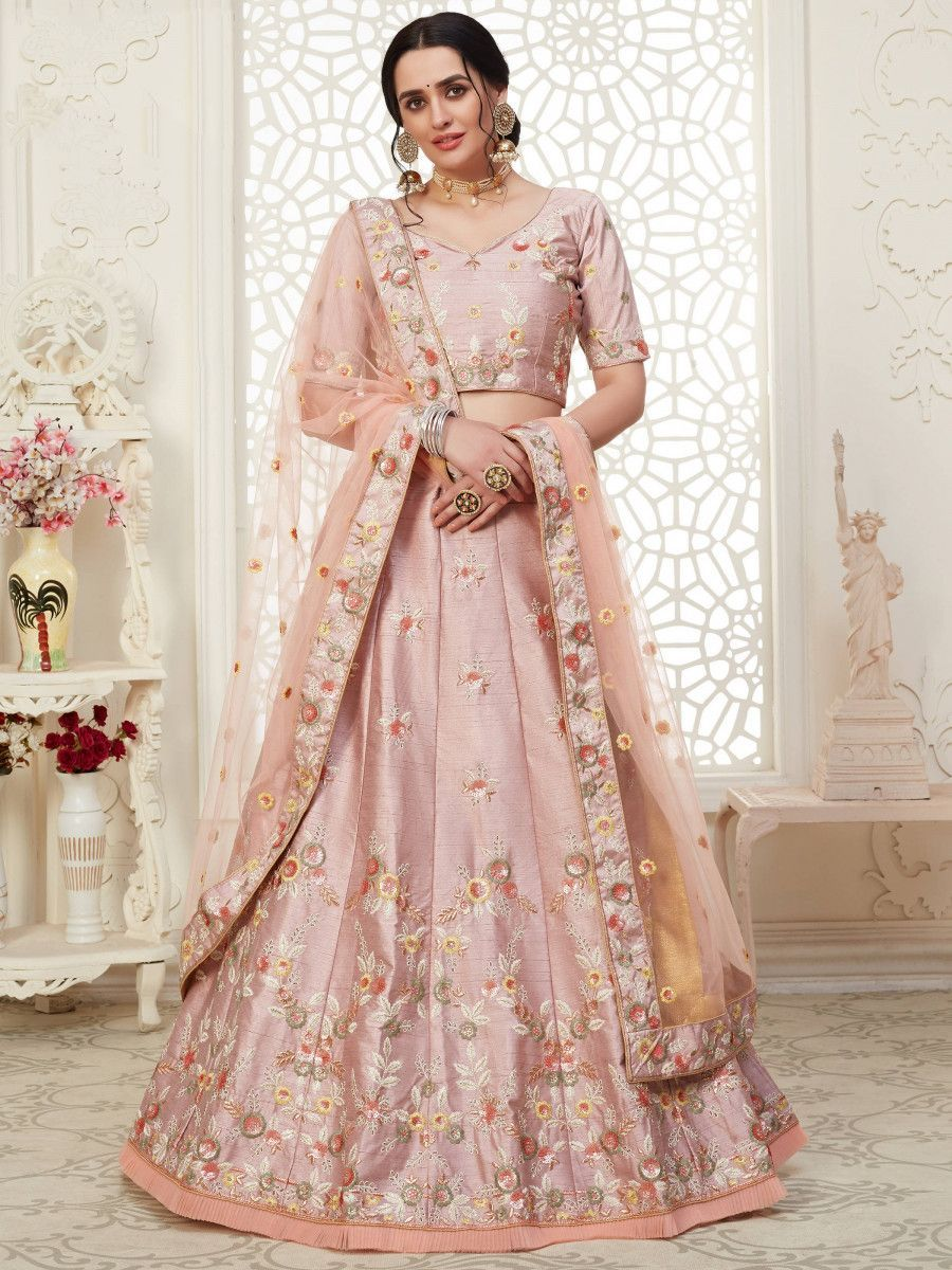 Rose Gold Cording Mulberry Silk Bridal Wear Lehenga Choli