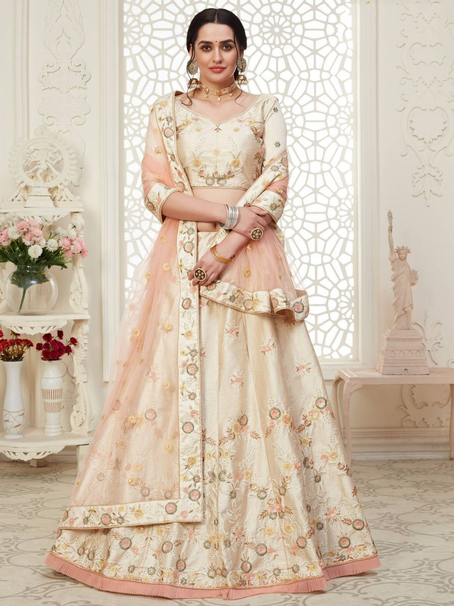 Cream Cording Mulberry Silk Bridal Wear Lehenga Choli