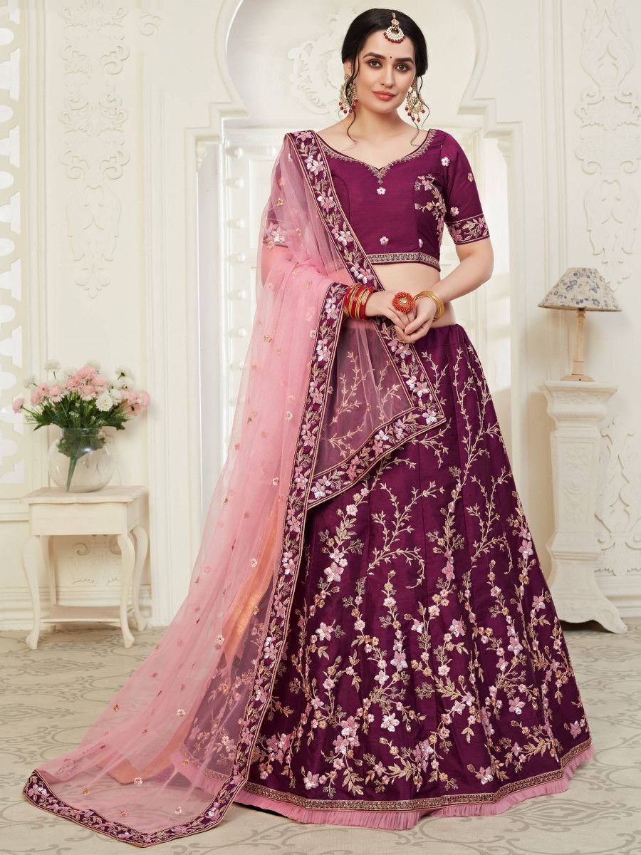 Wine Cording Mulberry Silk Bridal Wear Lehenga Choli