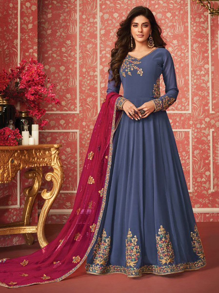 Blue Embroidered Georgette Festive Wear Long Anarkali Gown