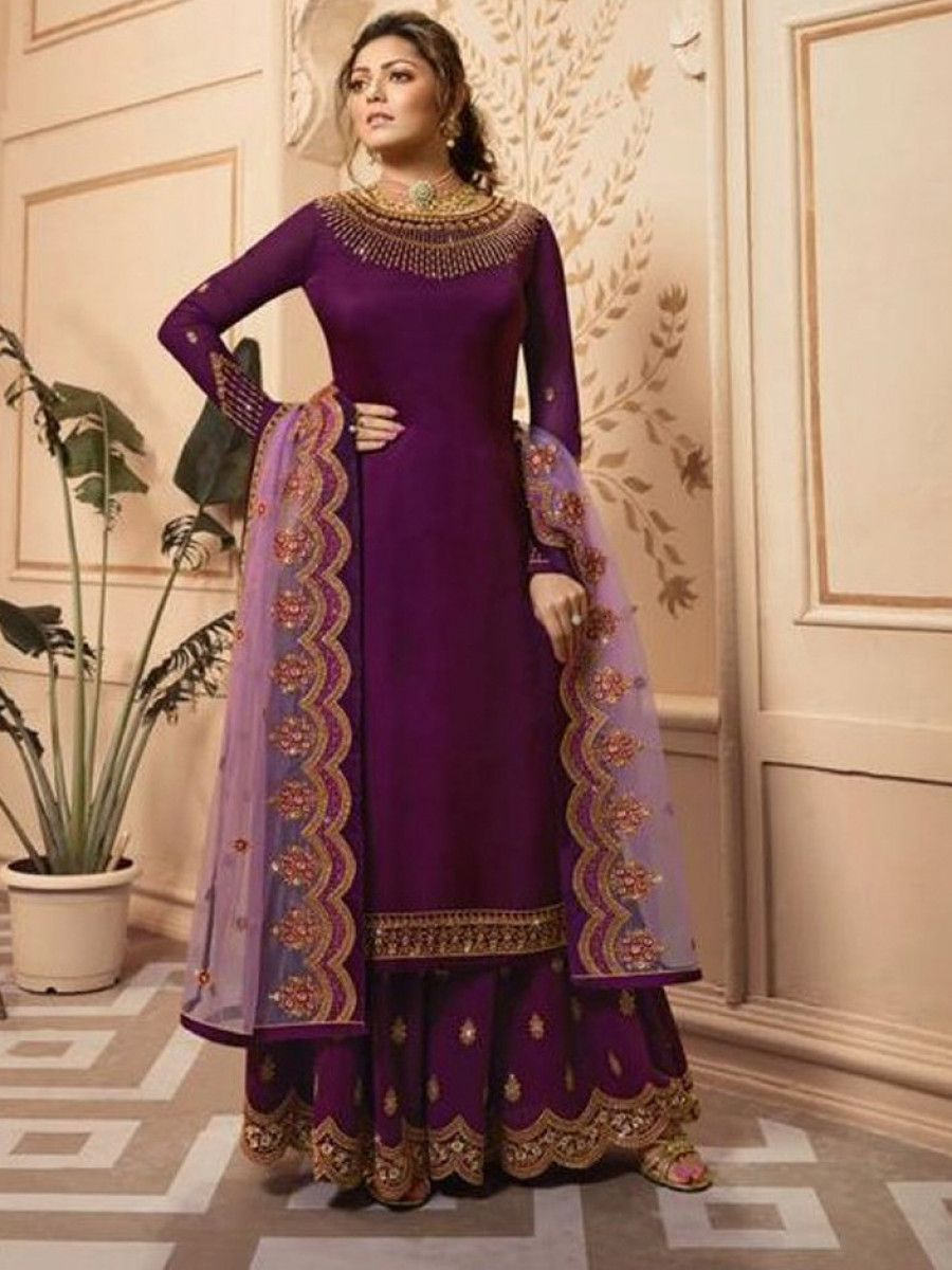 Drashti Dhami Wine Embroidered Satin Festive palazzo Suit