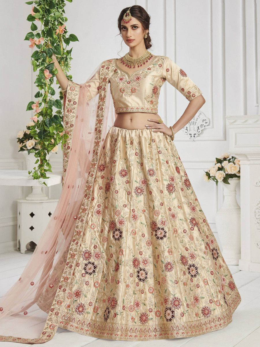 Ivory Cream Sequin Silk Bridal Wear Lehenga Choli