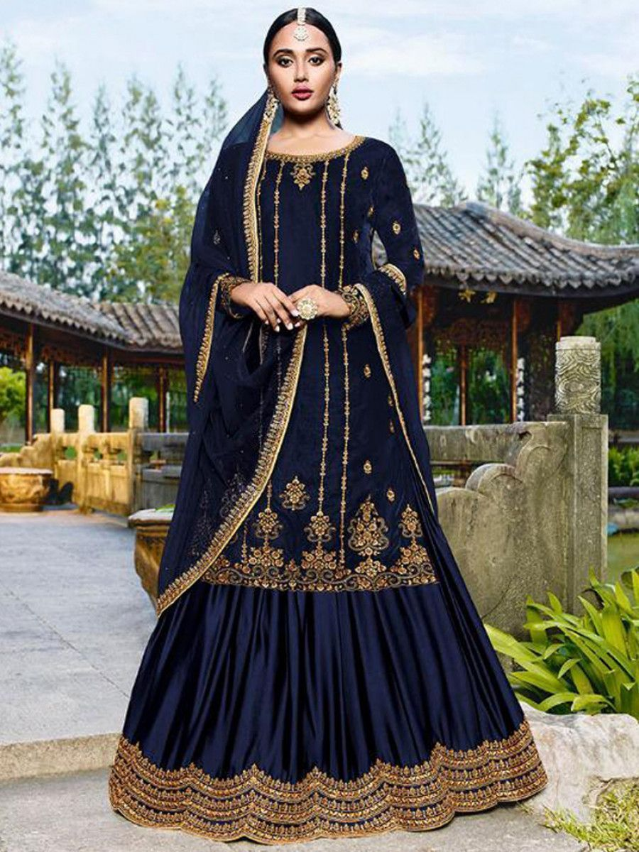 Blue Embroidered Velvet Festival Wear Gharara Suit