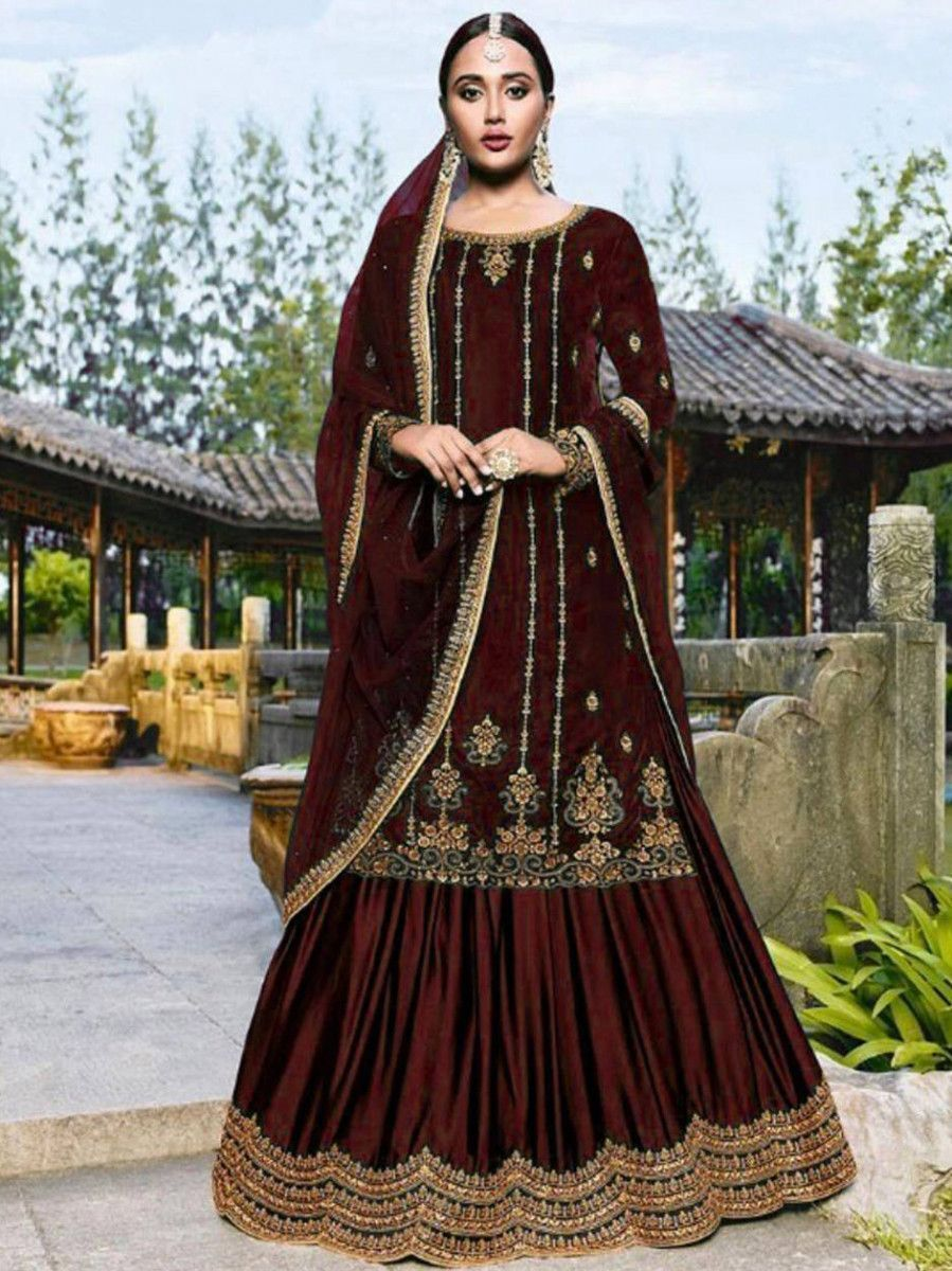 Maroon Embroidered Velvet Festival Wear Gharara Suit
