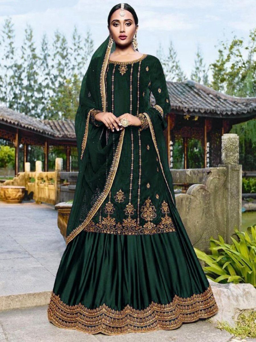 Green Embroidered Velvet Festival Wear Gharara Suit