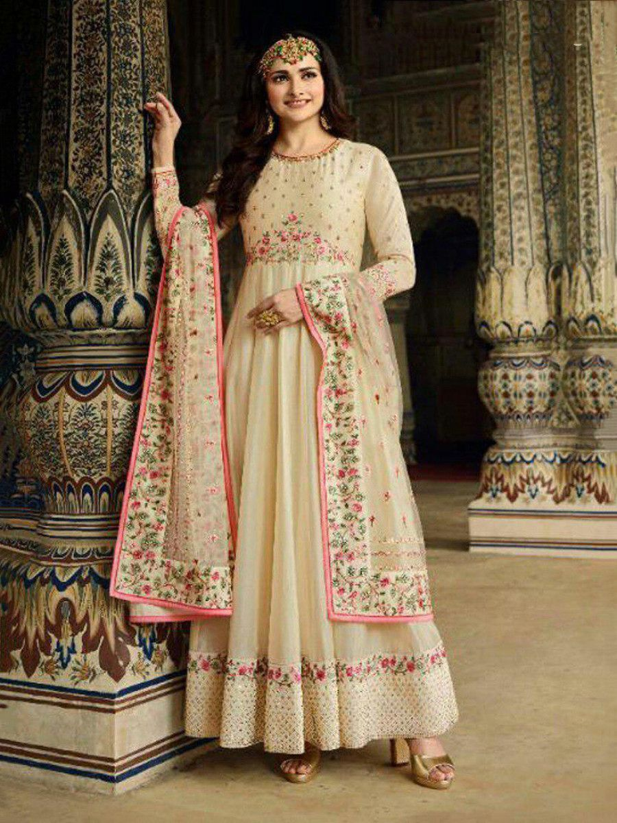 Prachi Desai Cream Embroidered  Silk Festive Gown With Dupatta