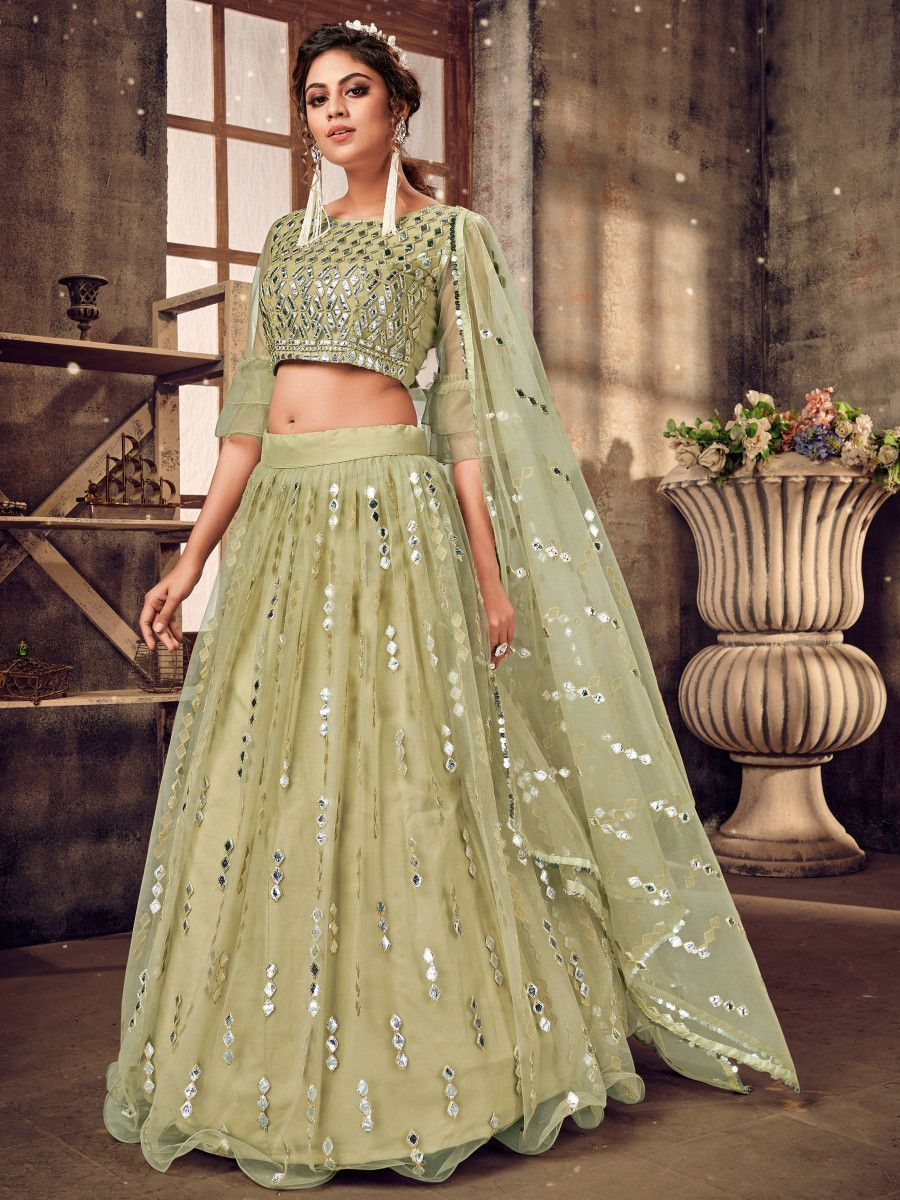 Green Foil Mirror Soft Net Party Wear Lehenga Choli
