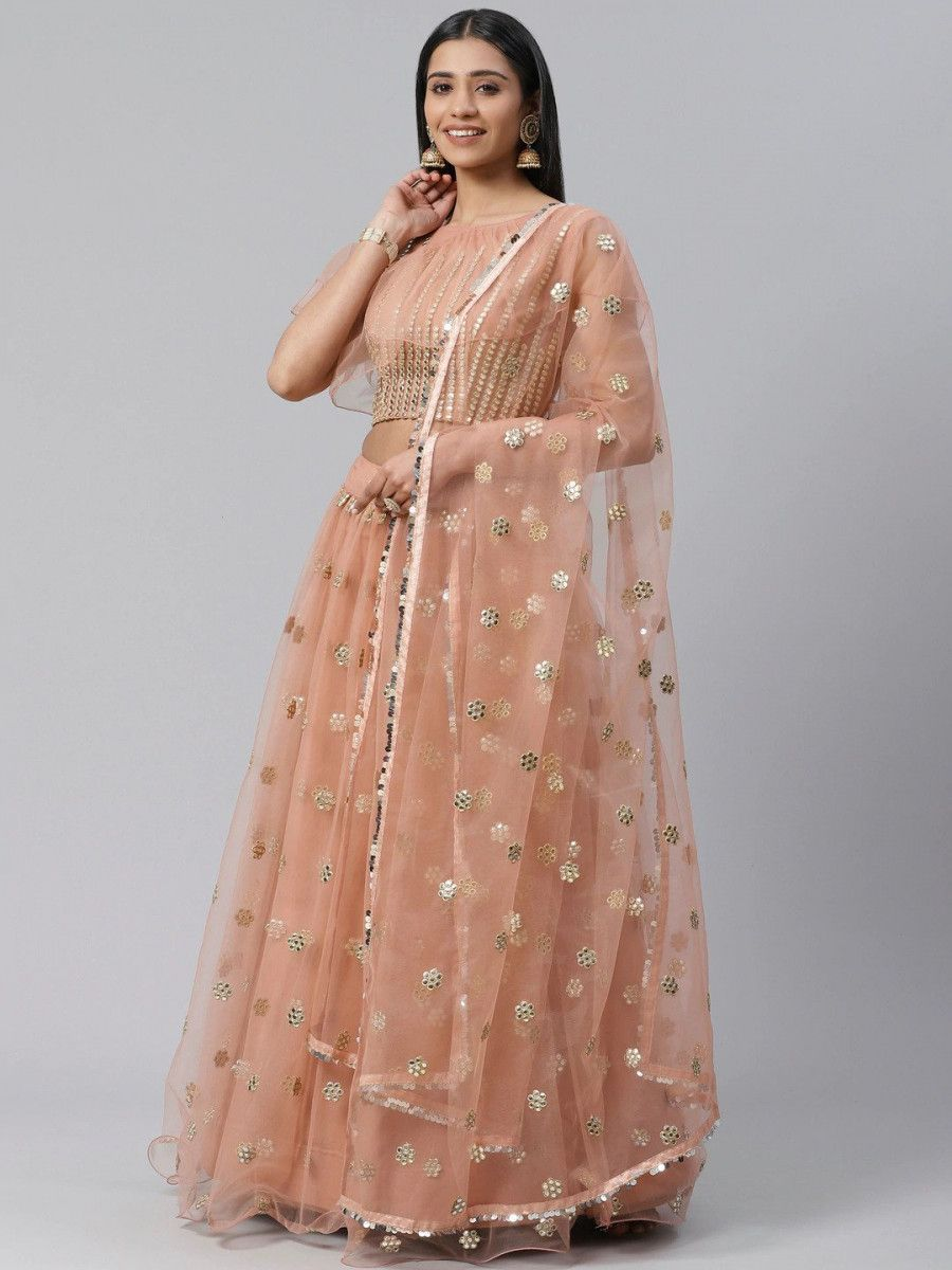 Peach-Coloured & Silver-Toned Embroidered Semi-Stitched Myntra Lehenga & Unstitched Blouse with Dupatta