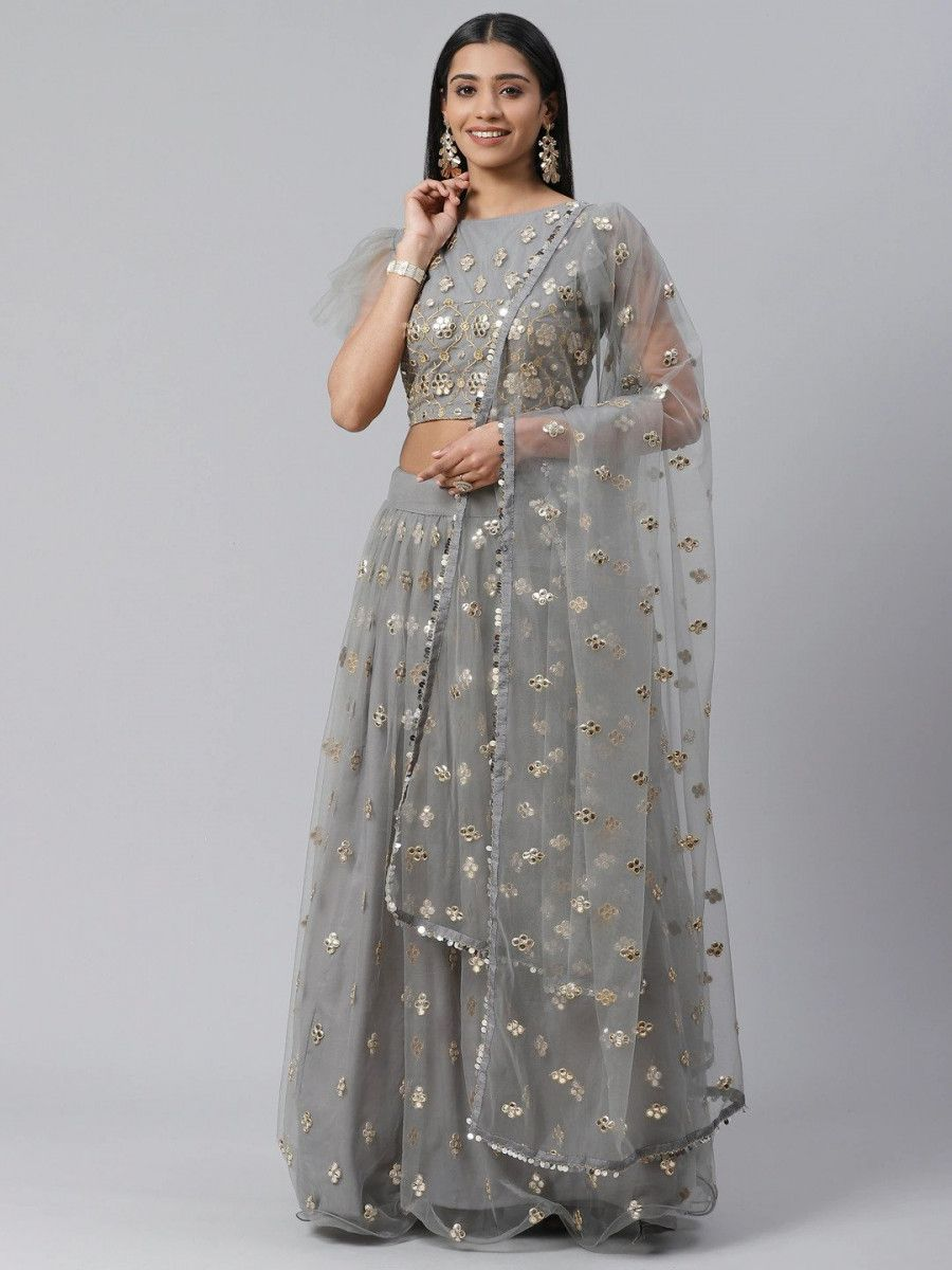 Grey & Golden Embroidered Semi-Stitched Myntra Lehenga & Unstitched Blouse with Dupatta
