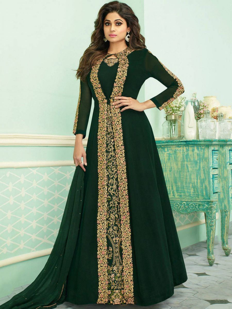 Shamita Shetty Green Embroidered Georgette Party Wear Jacket Gown