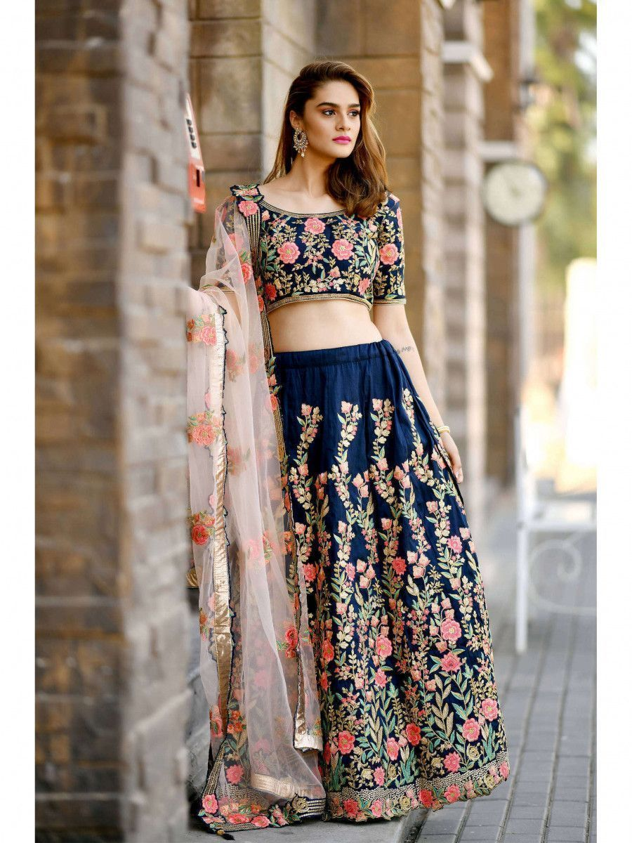 Navy Blue Embroidery Silk Bridal Lehenga Choli