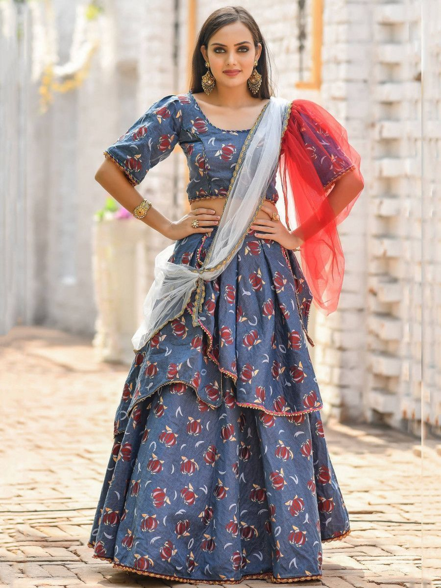 Blue Floral Jacquard Party Wear Lehenga Choli With Dupatta