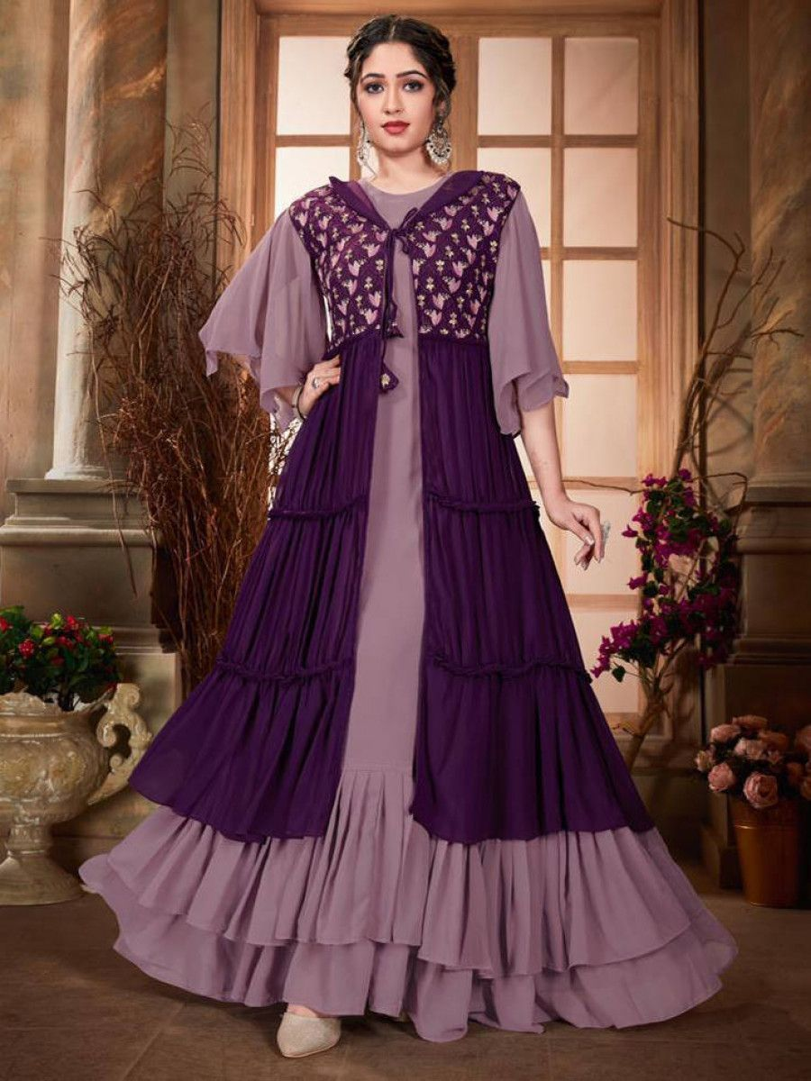 Purple Embroidered Georgette Party Wear Gown With Jacket