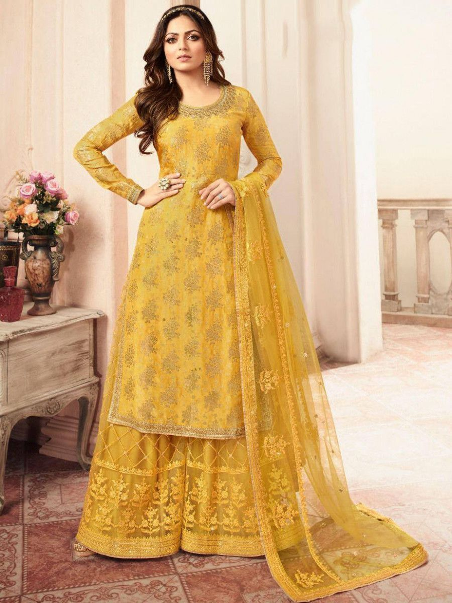 Drashti Dhami Yellow Jacquard Silk Wedding Wear Palazzo Suit