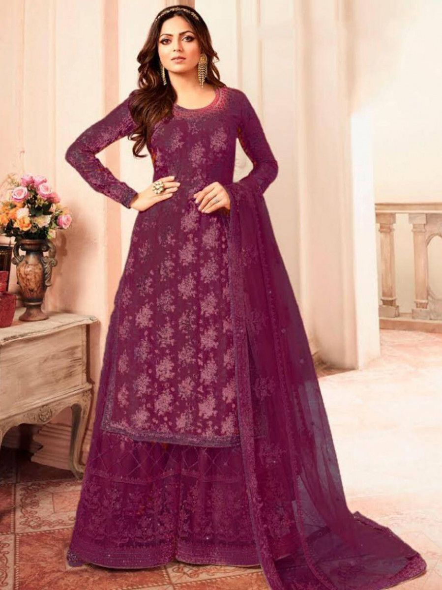 Drashti Dhami Burgundy Jacquard Silk Wedding Wear Palazzo Suit