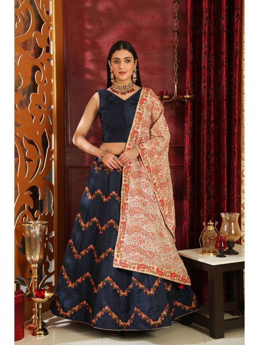 Navy Blue Embroidered Silk Bridal Lehenga Choli With Dupatta