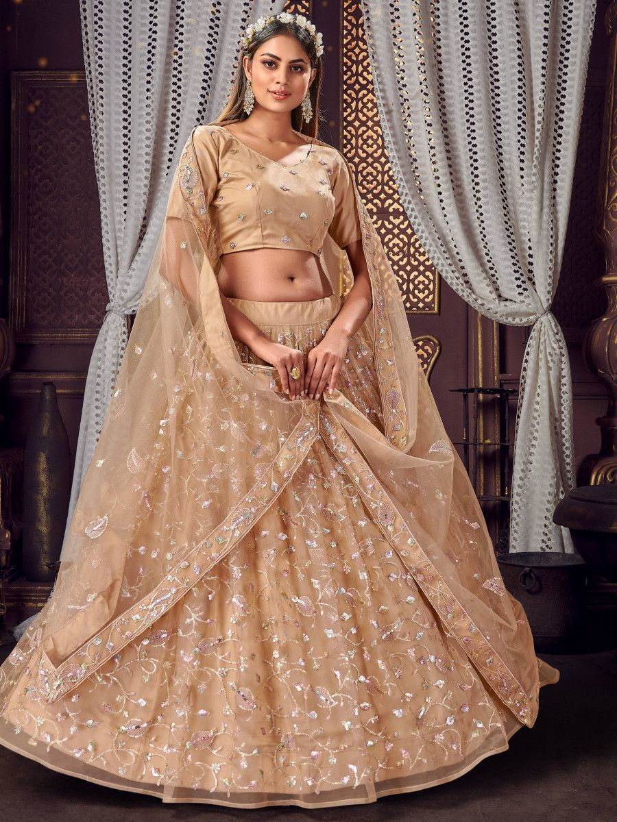 Beige Sequins Net Festive Wear Lehenga Choli