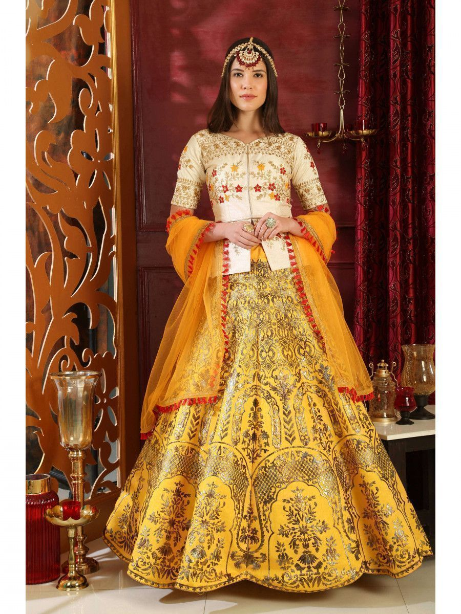 White-Yellow Embroidered Silk Bridal Lehenga Choli
