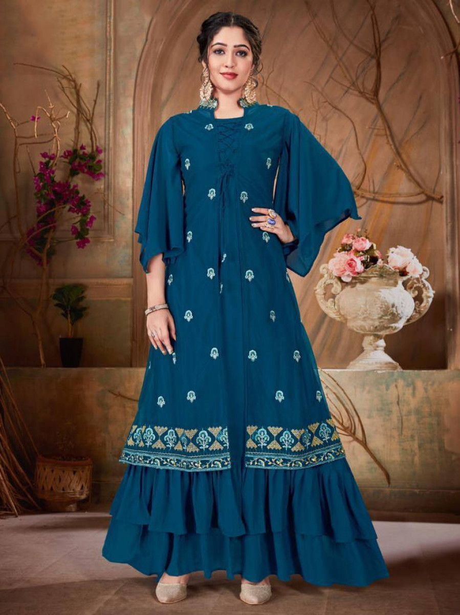 Blue Embroidered Georgette Party Wear Gown With Jacket
