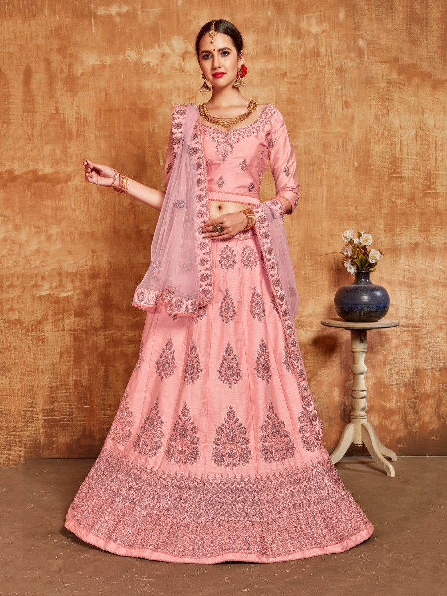 Light Pink Embroidered Slub Silk Wedding Wear Lehenga Choli