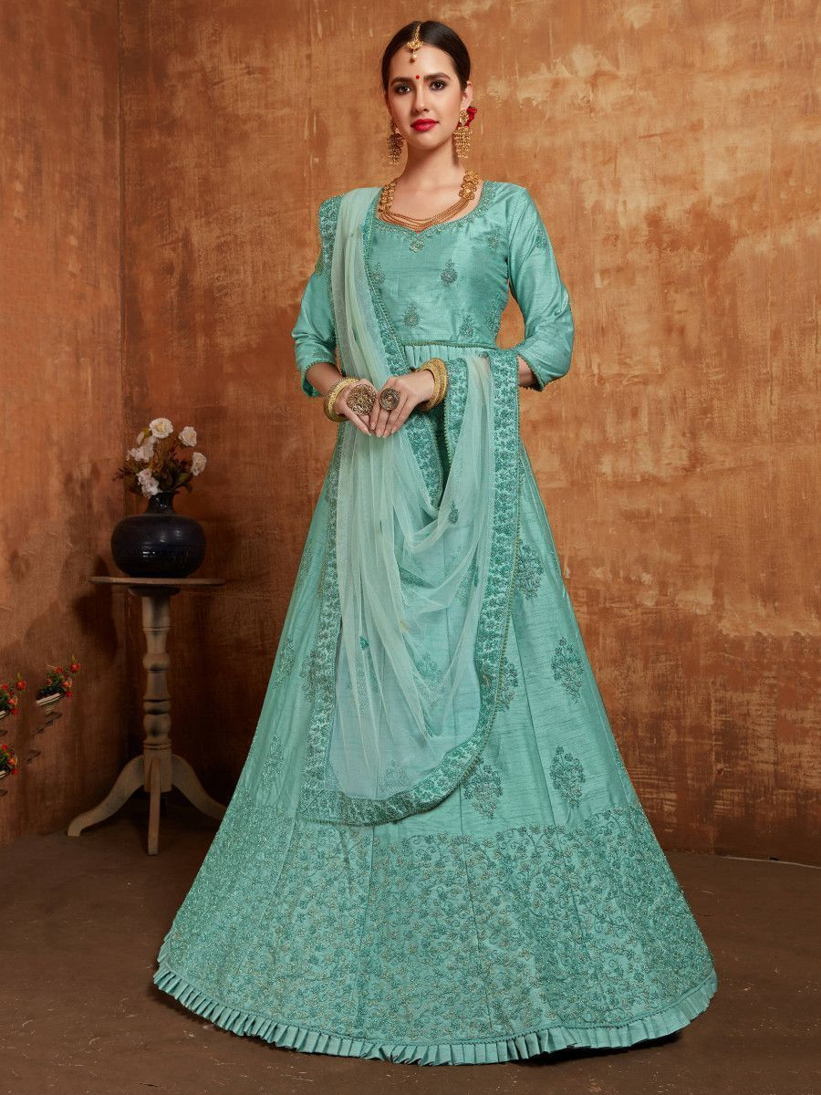 Aqua Embroidered Slub Silk Wedding Wear Lehenga Choli