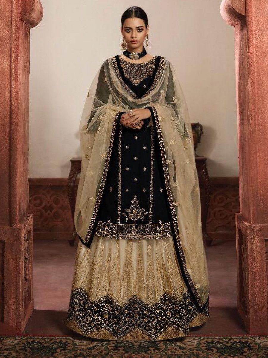Black and Cream Embroidered Georgette Festive Lehenga Suit