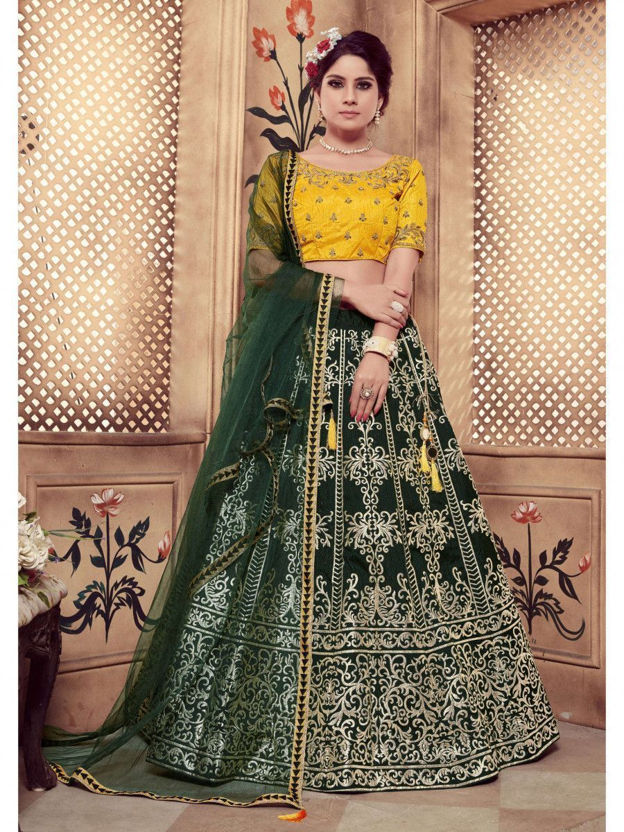 Dark Green-Yellow Embroidered Silk Festive Wear Lehenga Choli