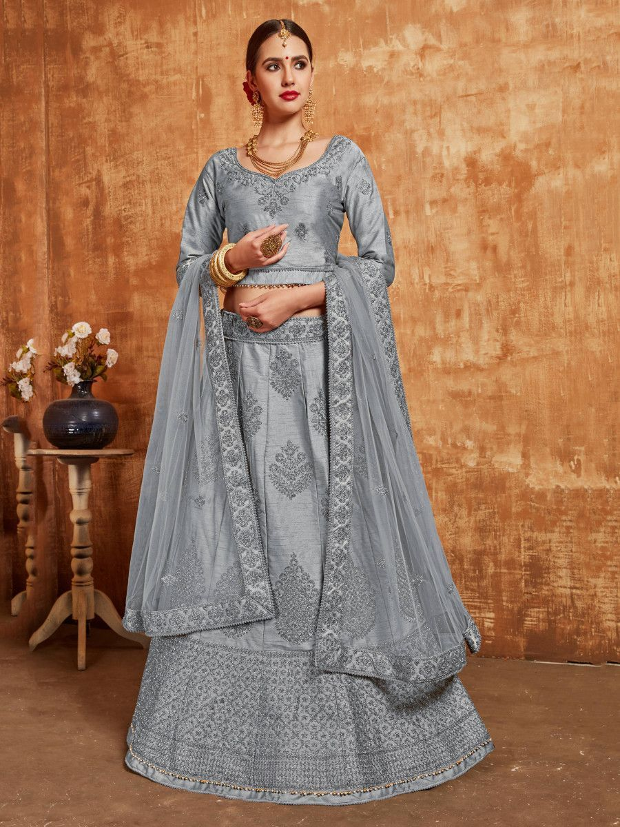 Grey Embroidered Slub Silk Wedding Wear Lehenga Choli