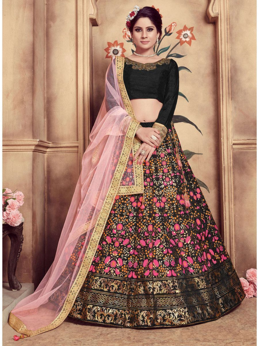 Black Embroidered Silk Festive Wear Lehenga Choli