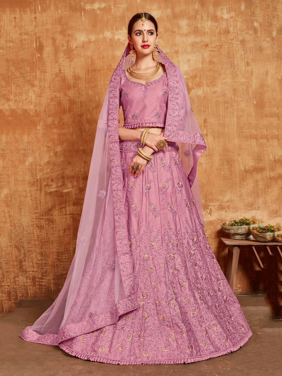 Light Purple Embroidered Slub Silk Wedding Wear Lehenga Choli