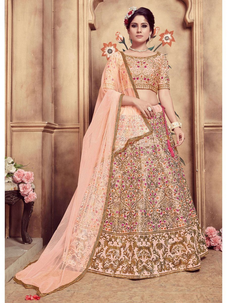 Peach Embroidered Silk Festive Wear Lehenga Choli