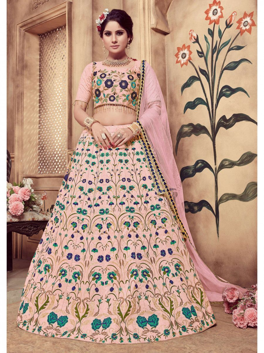 Dusty Pink Embroidered Silk Festive Wear Lehenga Choli