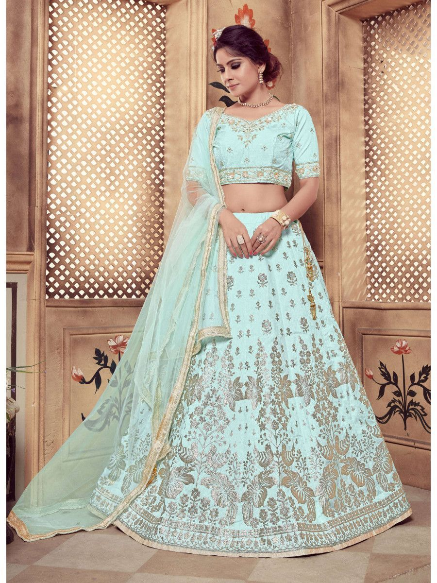 Turquoise Blue Embroidered Silk Festive Wear Lehenga Choli
