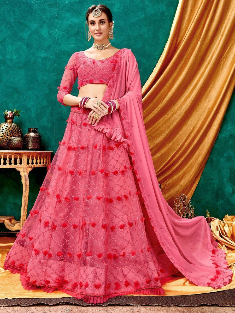 Pink Lucknowi 3D Flower Net Party Wear Lehenga Choli
