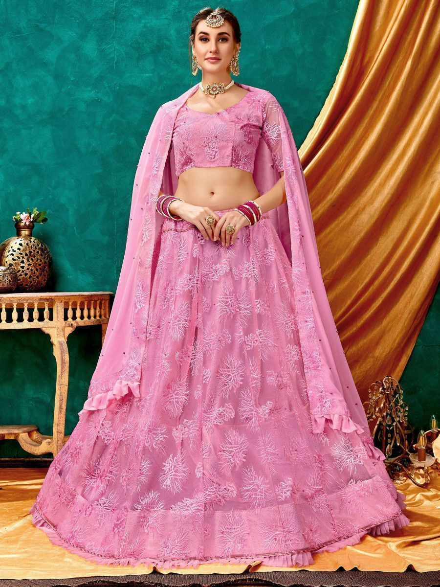 Baby Pink Lucknowi ruffle Net Party Wear Lehenga Choli