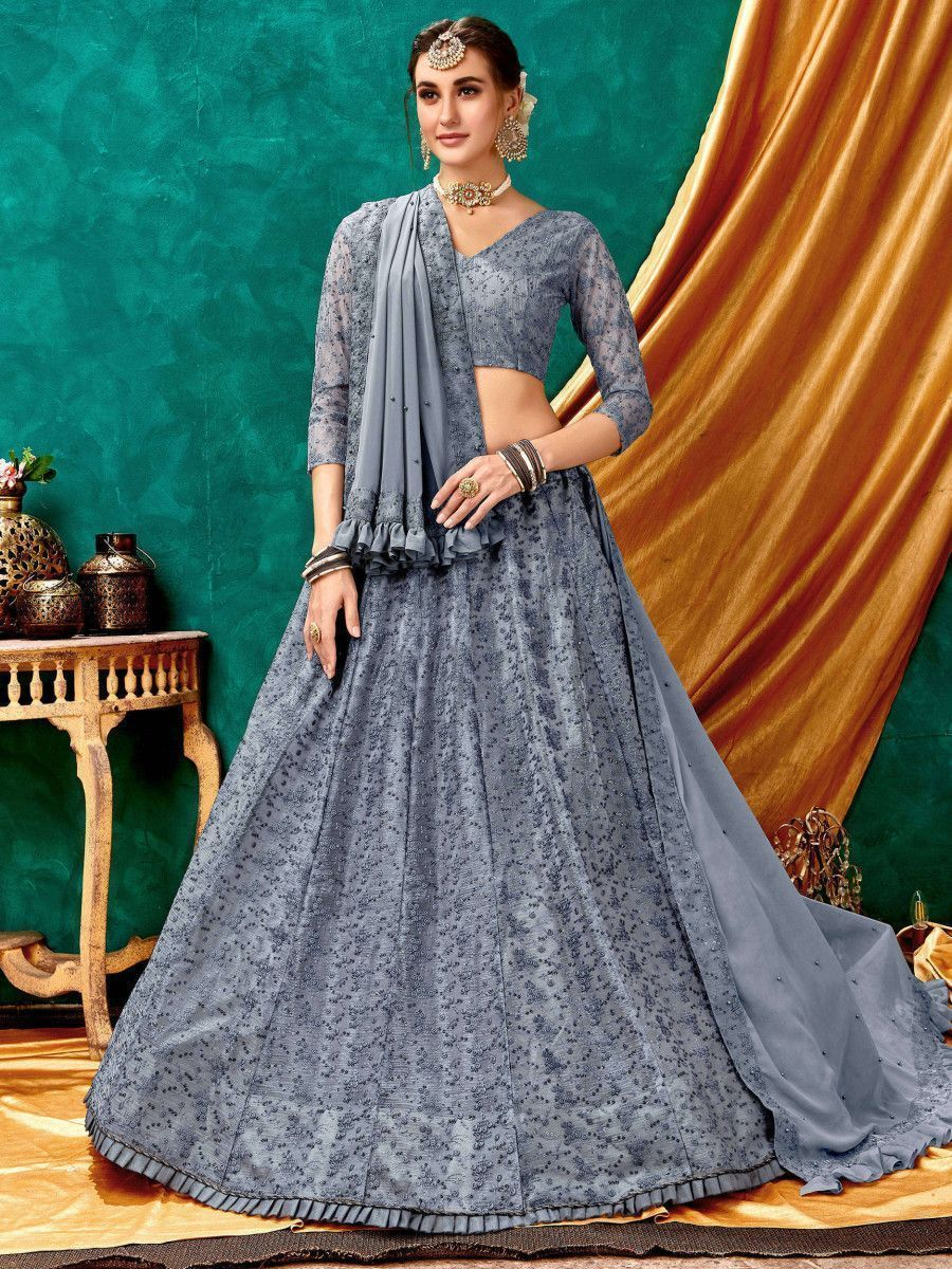 Grey Lucknowi Net Party Wear Lehenga Choli with Frilled Dupatta