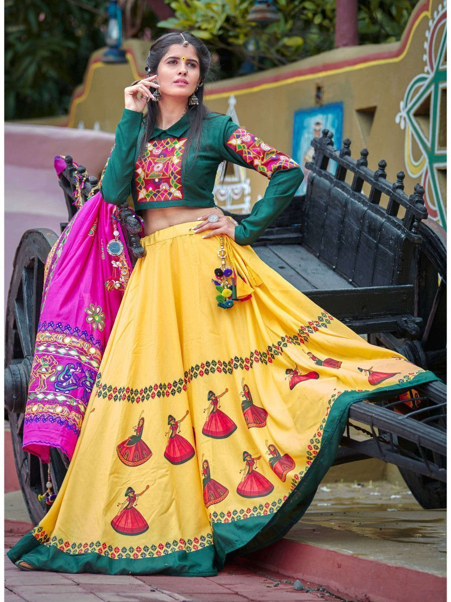 Dark Green-Yellow Traditional Navaratri Lehenga Choli