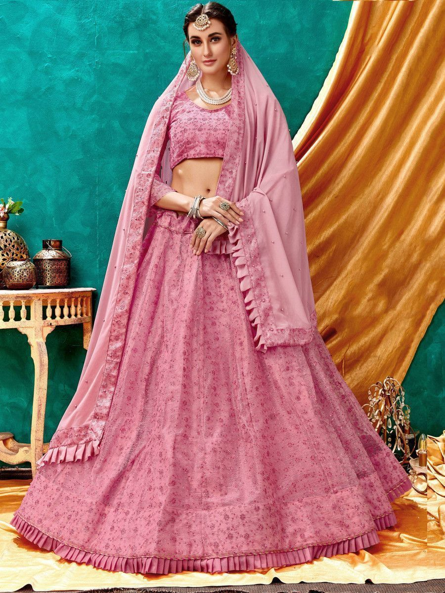 Pastel Pink Lucknowi Bell Sleeve Net Party Wear Lehenga Choli