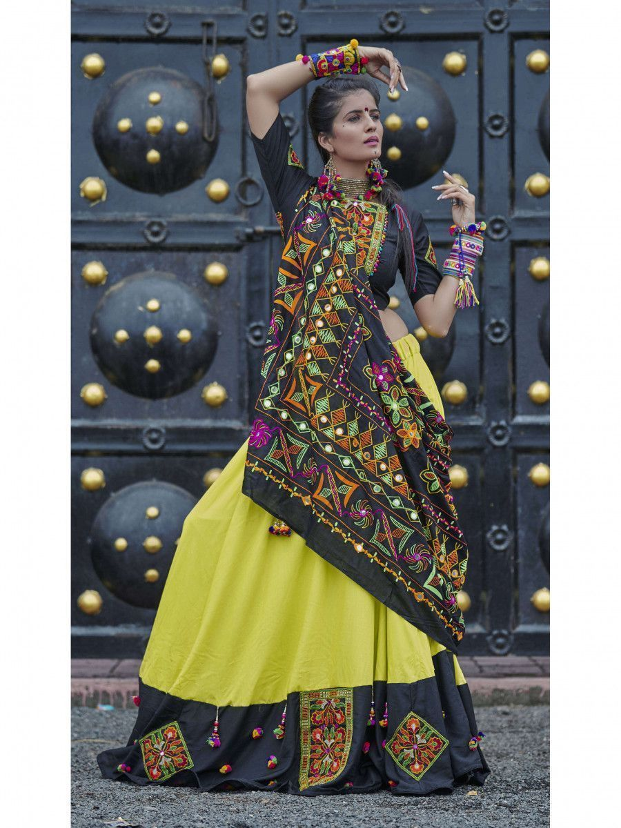 Black-Green Color Traditional Lehenga Choli For Navratri