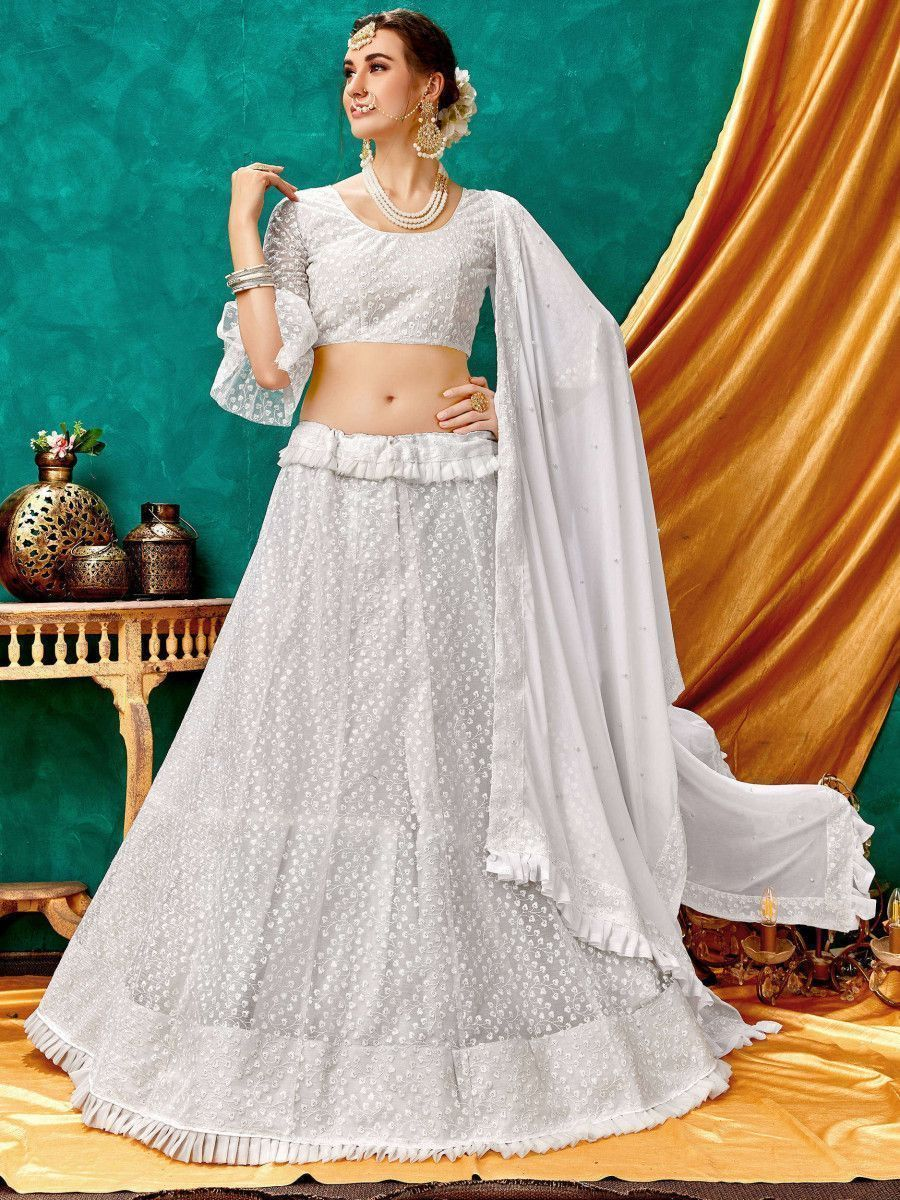 White Lucknowi Bell Sleeve Net Party Wear Lehenga Choli
