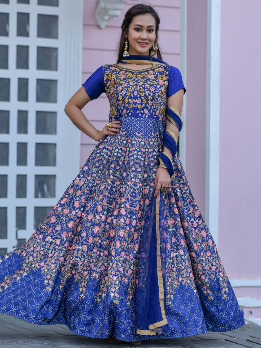 Blue Hand Work Silk Festival Wear Gown With Banarasi Dupatta