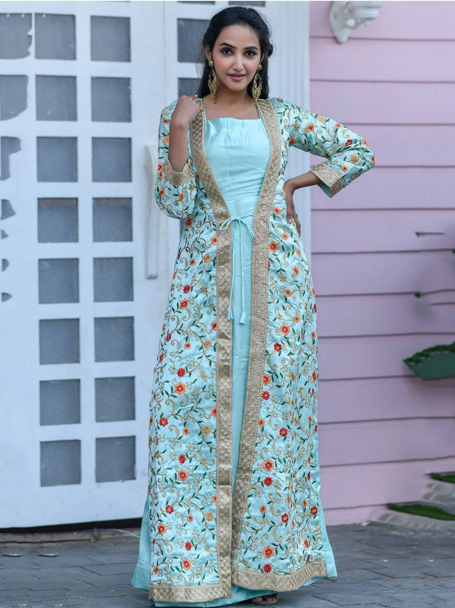 Sky Blue Embroidered Silk Festival Wear Gown With Jacket
