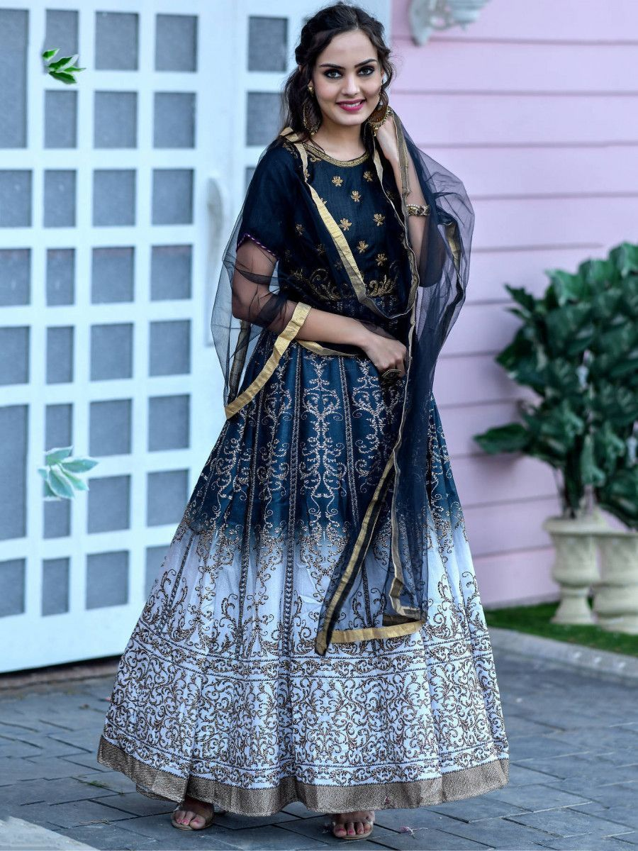 Black-Grey Hand Work Silk Festival Wear Gown With Dupatta